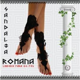 Sandália Romana em Renda Preta