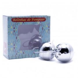 Kit Bolinhas de Pompoar Cromada 2 + Manual de Pompoarismo