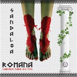 Sandália Romana em Renda Vermelha