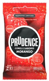 Preservativo Prudence Cores e Sabores Morango - 3 un.