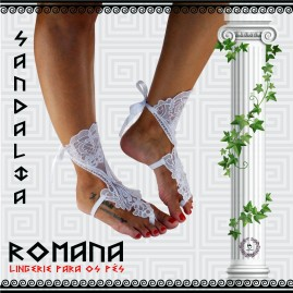 Sandália Romana em Renda Branca